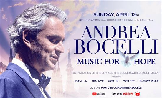 Andrea Bocelli will give a solo performance on Easter Sunday inside the Duomo cathedral of Milan